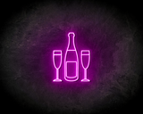 CHAMPAGNE BOTTLE neon sign - LED neon reclame bord_